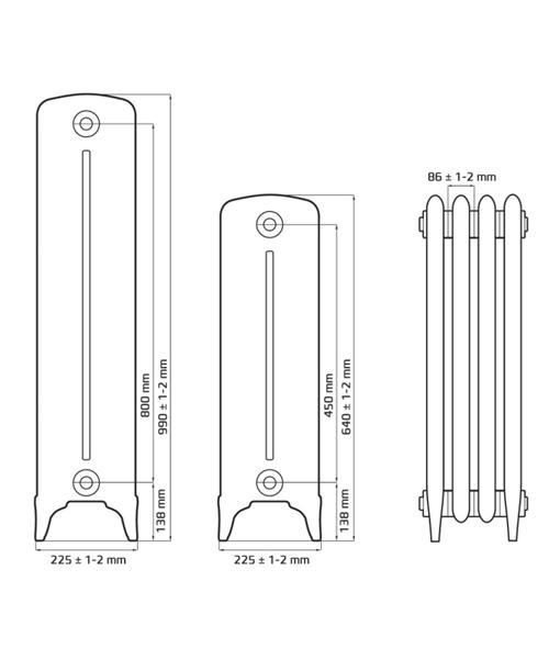 Схема чугунного радиатора RETROstyle Bohemia 450/225