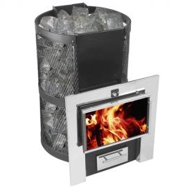 Печь банная Кольчуга 14-18 (каминный экран (плазма) и парогенератор)