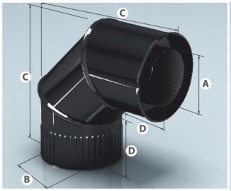 Сэндвич-отвод эмалир. 90, 0,8мм/0,8мм d 115*200мм