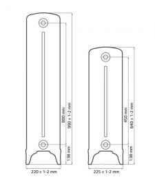 Размеры чугунного радиатора Bohemia R 450/220