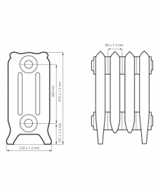 Схема чугунного радиатора RETROstyle Bristol M 300