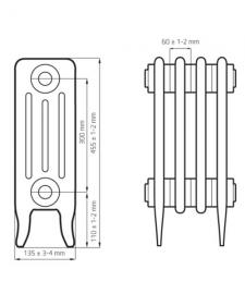 Схема чугунного радиатора RETROstyle Derby 300