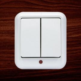 """Выключатель """"Прима"""" А56-007 с подсветкой, 2 клавиши"""