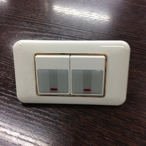 Выключатель, 2 клавиши  (922012), с подсветкой, серый